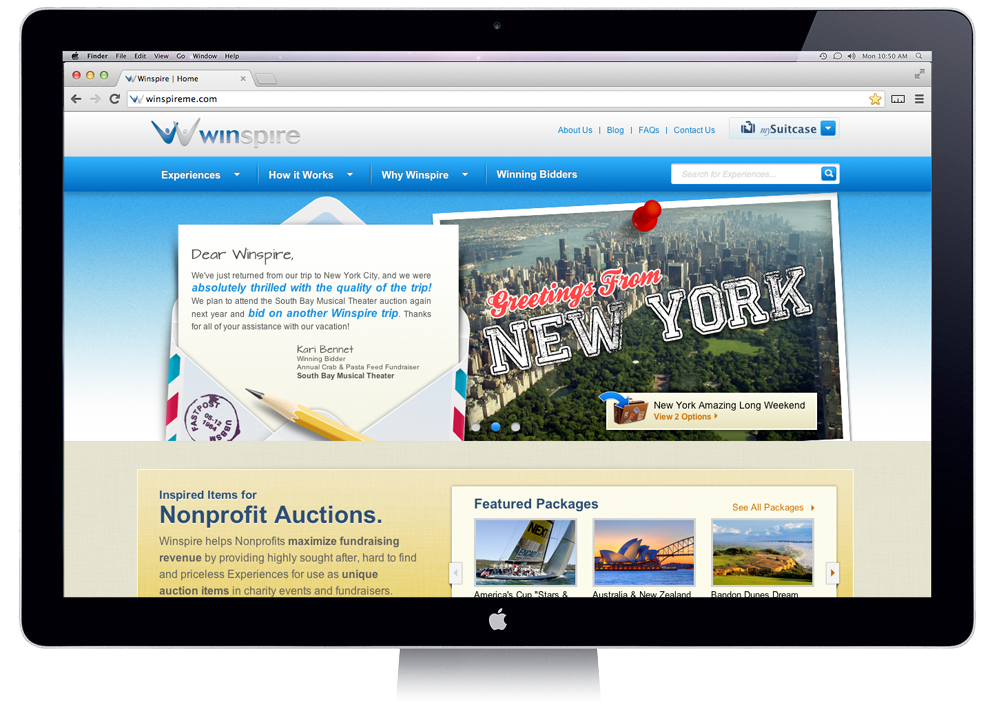 New Winspire Website mySuitcase helps you browse for pricess Experiences