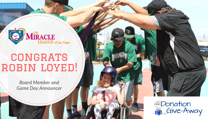 April 2017 Donation Giveaway Winner: Miracle League Las Vegas