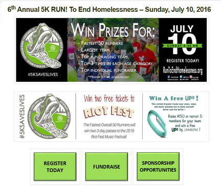 5k fundraising event page