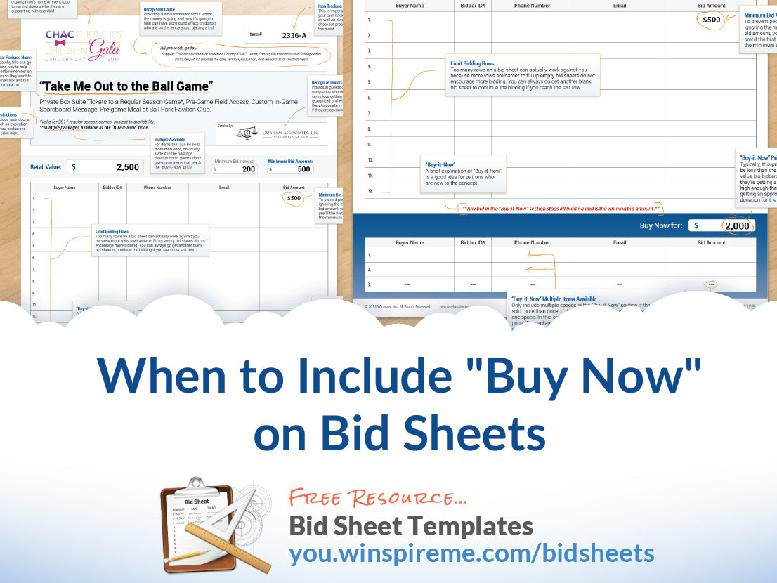 """When to Include """"Buy Now"""" Prices on Auction Bid Sheets"""