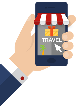Online auction travel packages on a mobile phone
