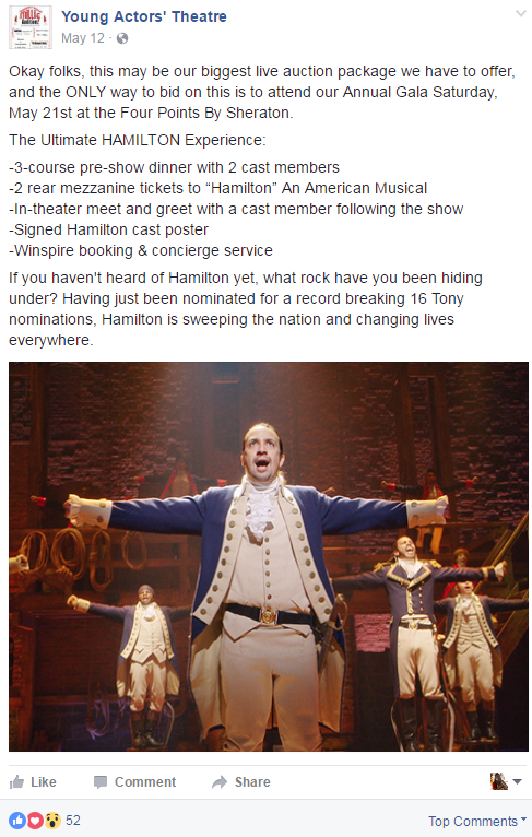 Winspire's Ultimate Hamilton Experience auction travel package