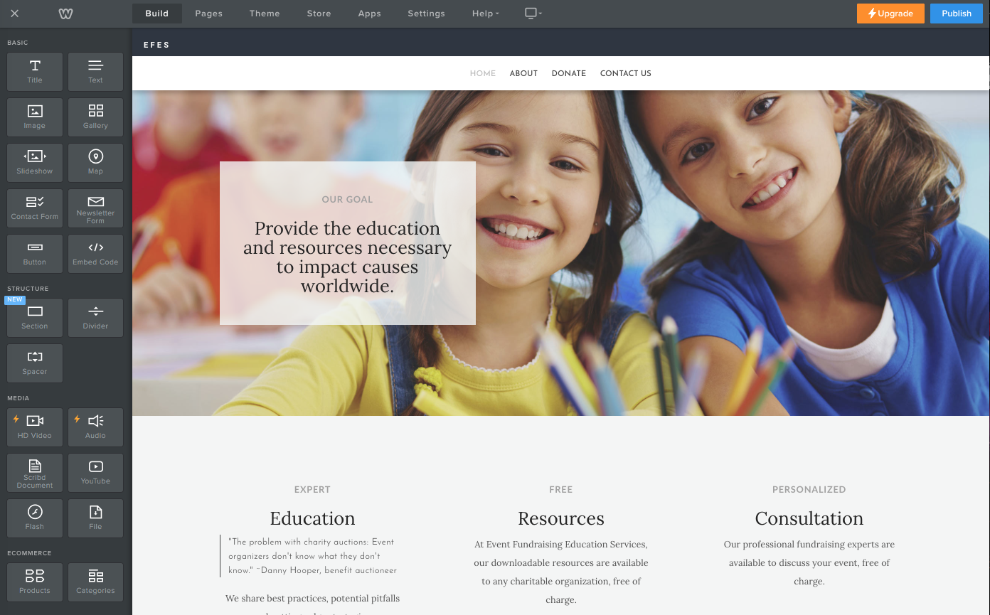 Weebly nonprofit site builder
