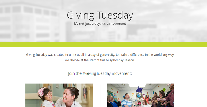 St Jude #GivingTuesday Landing Page