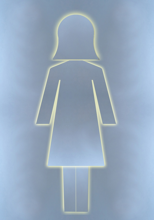 Aluminium woman, good for ladies toilet sign