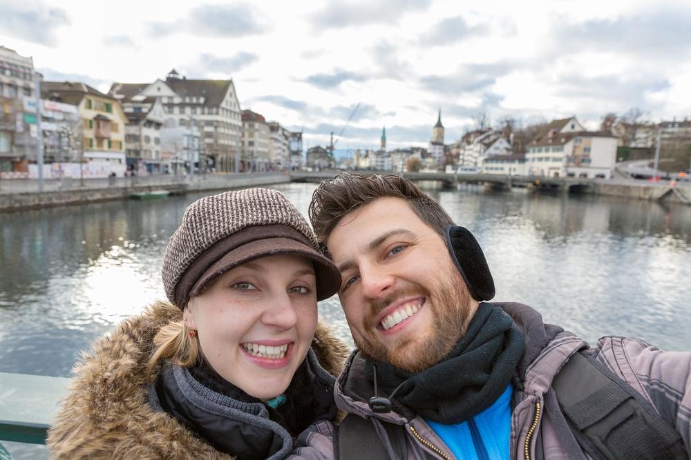 Traveling couple selfie
