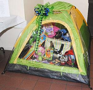 outdoor items in a silent auction gift baskets
