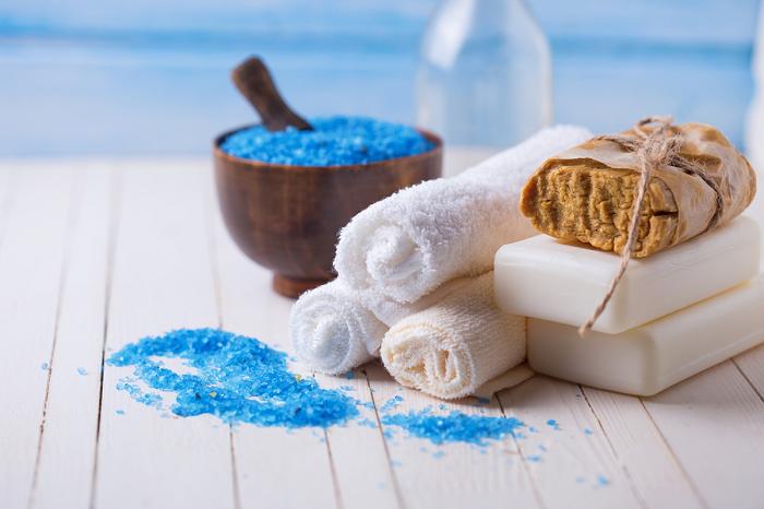 Spa towels blue